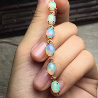 fine jewelry Chrismas present real 18k gold natural golden fire opal bracelet for women bracelets