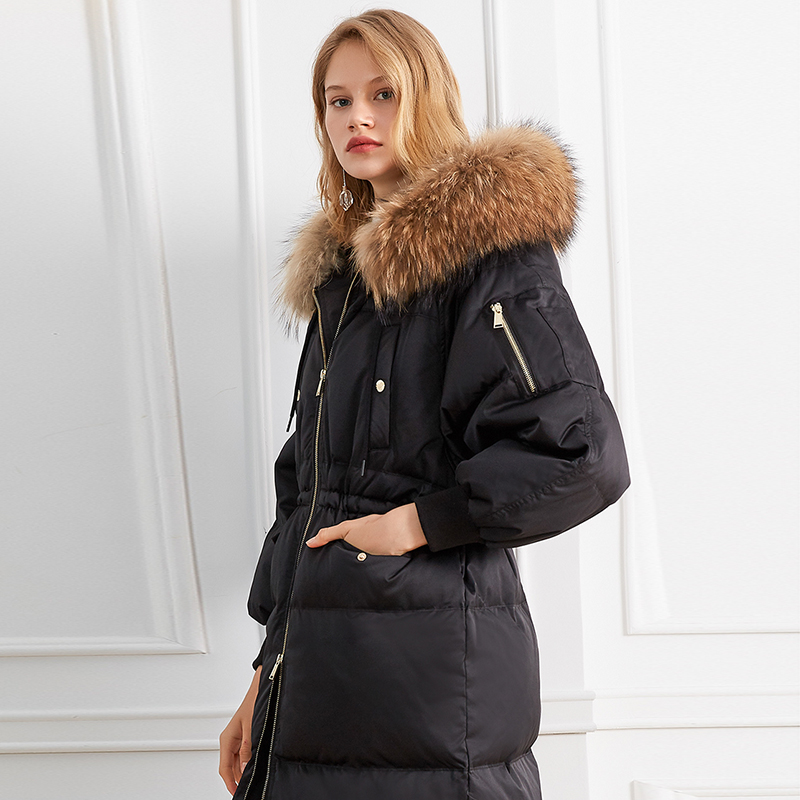 European Women   Down   Jacket Female Thick Genuine Raccoon Fur Collar Hoodie White   Down     Coat   Parka Winter Jacket Women High Quality
