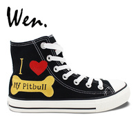 WEN Hand Painted Shoes Design Custom Pet Dog Pitbull Flats Lace Up High Top Black Canvas Sneakers for Men Women Gifts