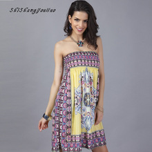 New Lady Summer Print Holiday Skirt Beach Ice Silk Women Flower Wrapped Chest Skirt Fashion Sexy Skirt Lady Large Size Skirt
