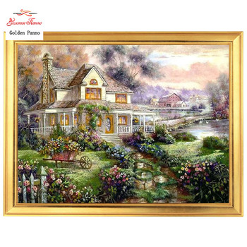 Golden panno,Needlework,Embroidery,DIY Landscape Painting,Cross stitch,kits,14ct Outside world Cross-stitch,Sets For Embroidery