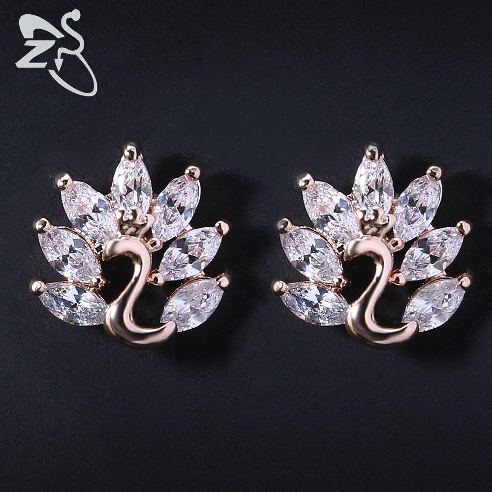 Earring For Women Earrings Crystal Stud Earrings For Women Flower Rose Gold Peacock For Wedding Party Birthday 2018 New Fashion