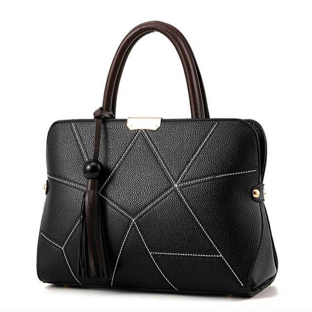 SaueHung Women Handbags Fashion Tassel Black Geometric Bags For Female Famous Designer Women Crossbody Shoulder Bag High Quality