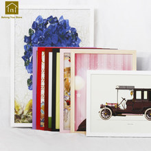 Solid Wood Frame Wall Simple Poster Box Sketch Paintings Canvas Square Photos Frame Quadros De Parede Photo Frames Set WKM008(China)