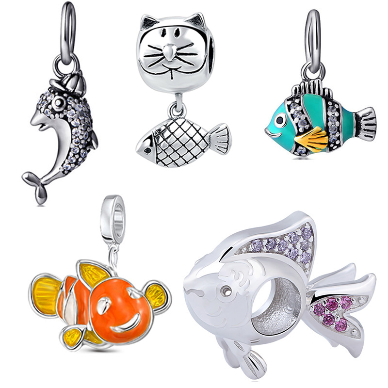 SG diy craft beads cute animal fish collection 925 silver pandora charm fit original bracelet beads fashion jewelry making 2017