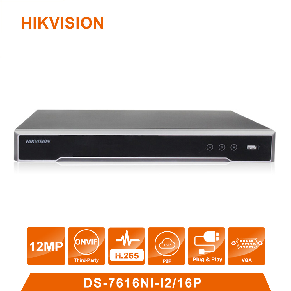 Original Hik vision English Version DS 7616NI 12/16P 16 POE port 12MP 16ch Cameras POE H.265 up to 12MP