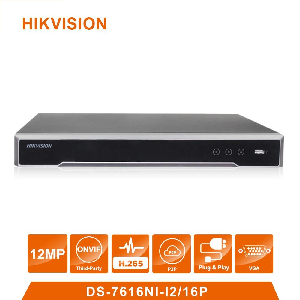 Original Hikvision Inglês Versão DS-7616NI-I2/16 P 16 porta POE 12MP 16ch Câmeras POE H.265 até 12MP