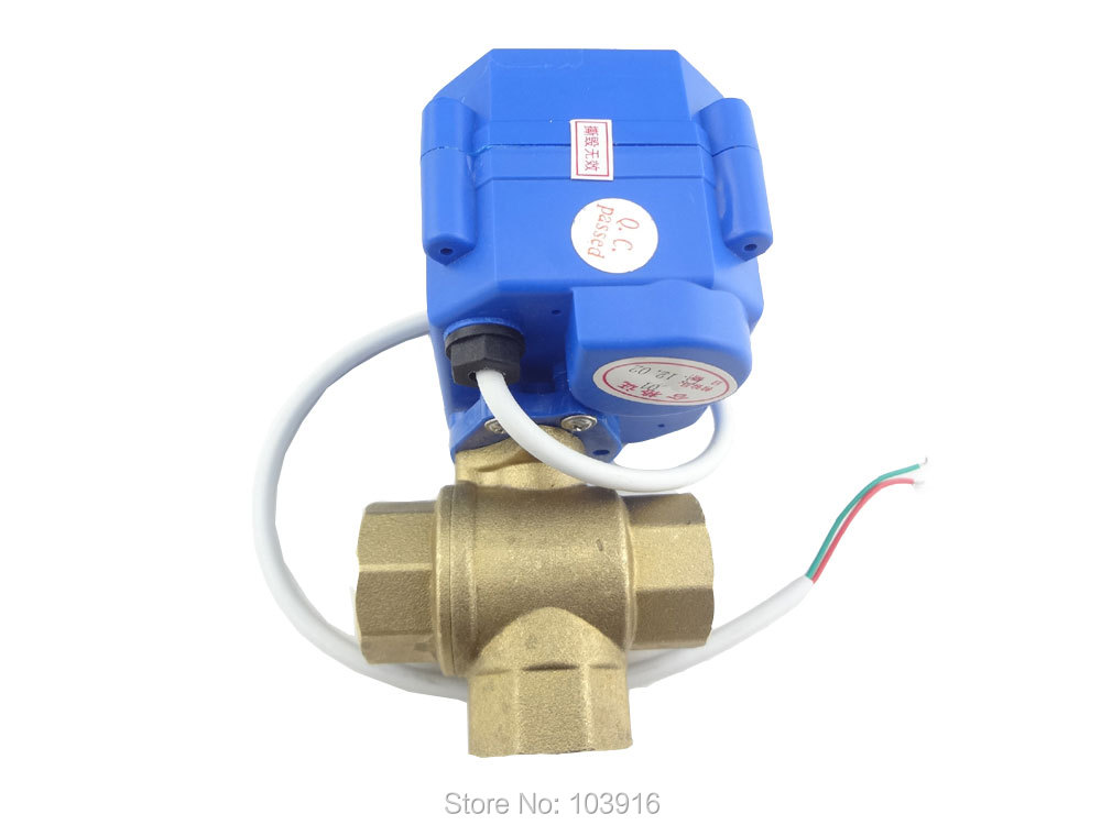 3 way DN15(reduce port) motorized ball valve, electric valve(L port), MS-3-15-12V-L-R01-1