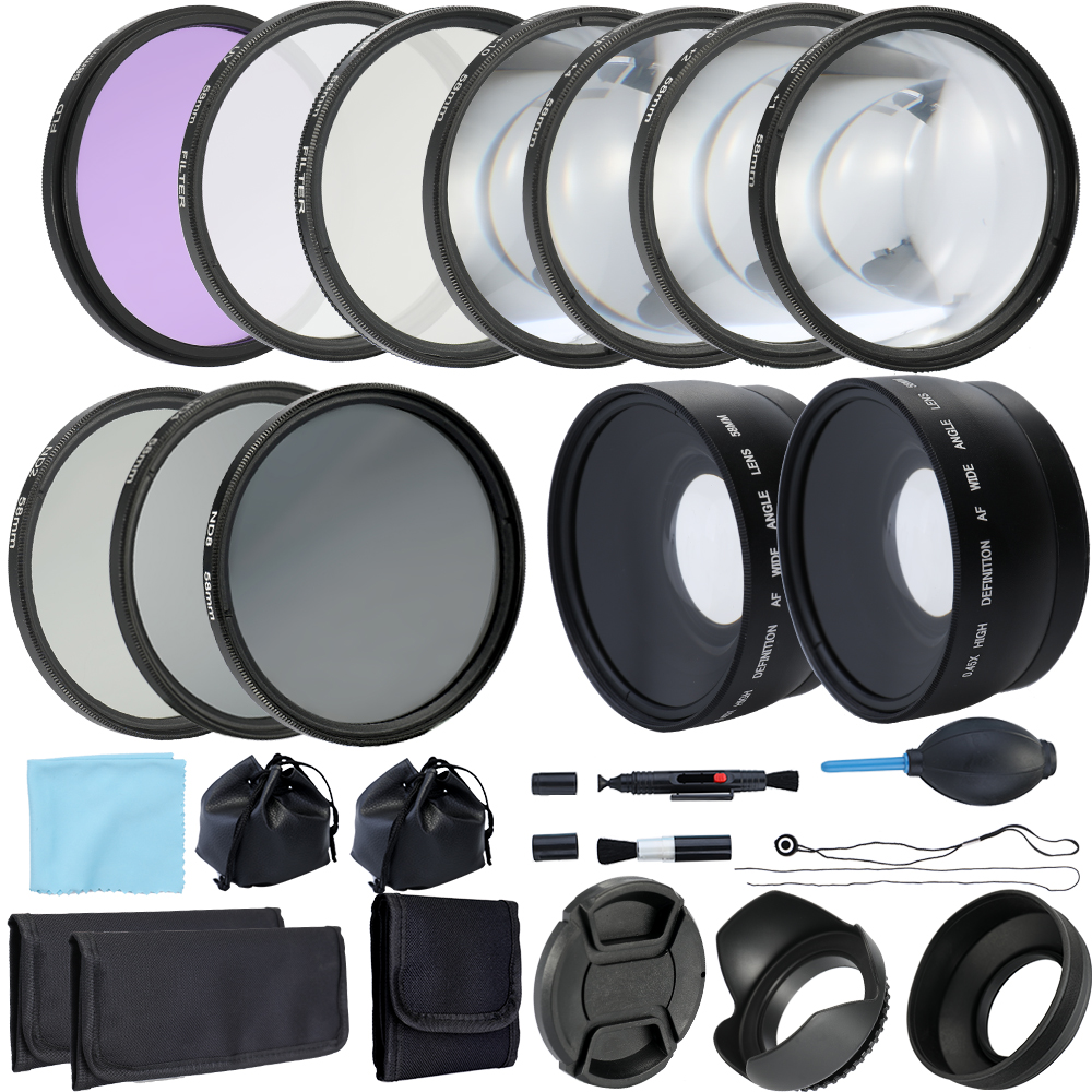 Professional Lens and 52mm 58mm ND2 ND4 ND8 Lens Filter Bundle for DSLR SLR Compact Camera Lens Macro Close Up Set-in Camera Filters from Consumer Electronics    1