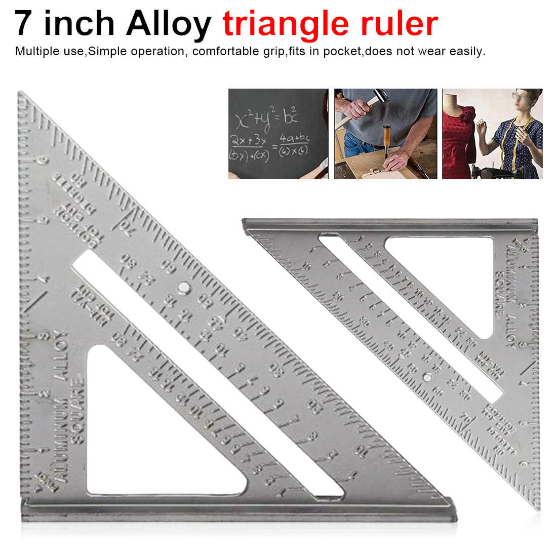 7 inch Triangle Ruler for Woodworking Square Layout Gauge Measuring Tool Woodworking Gauges Protractors Aluminum Alloy Metric