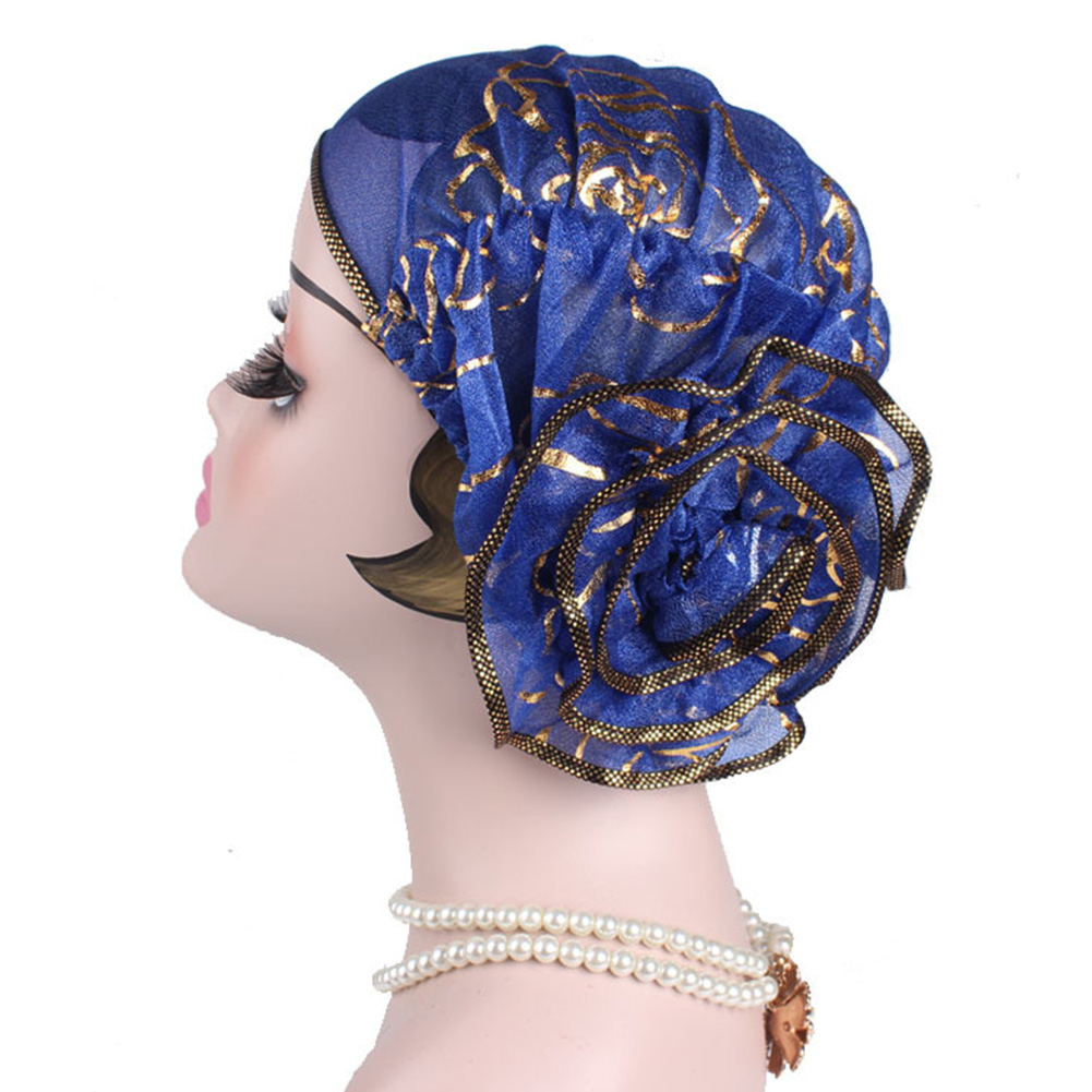 Gifts Hot Stamping Lightweight Women Hats Chemo Cap Elegant Elastic Turban Fashion Wrap Print Muslim   Beanie   Large Flower