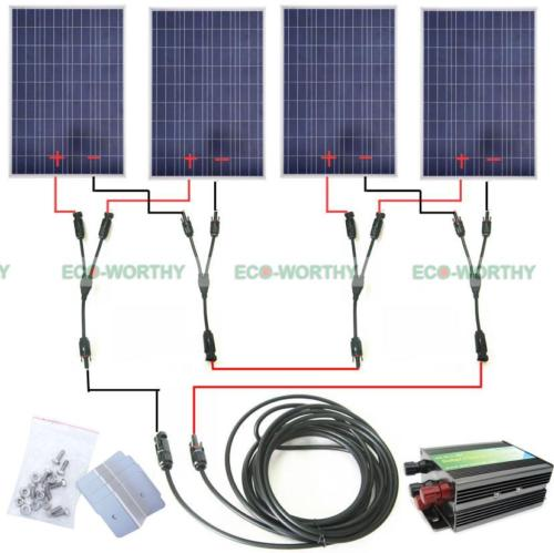 COMPLETE KIT 400 Watt 400W 400Watts Photovoltaic Solar Panel 24V System RV Boat Solar Generators complete kit 100watt poly solar panel system for 12v rv boat battery charger