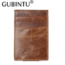 GUBINTU первый слой кожаный бумажник унисекс винтажный держатель для карт мини карман для монет кошелек тонкий коровьей карты посылка клатч кошельки