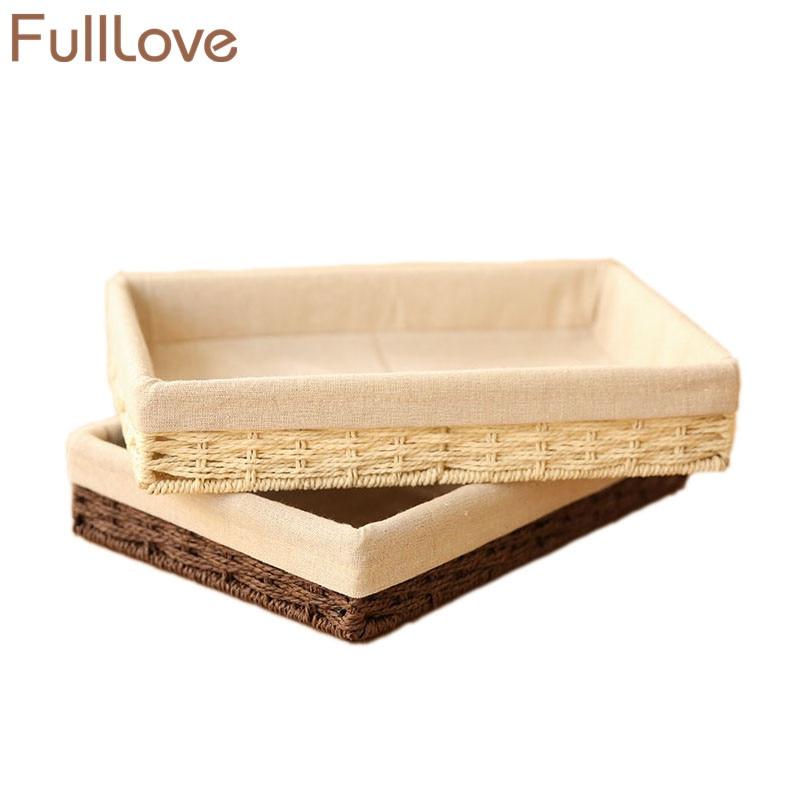 FullLove 30*20*5cm Beige Desk Organizer Handmade Fiber Rope Storage Box for Cosmetic Sundries Snacks Home Storage & Organization