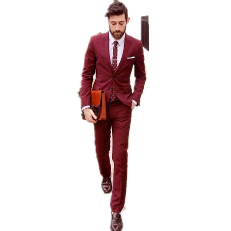 Online Shop Fashion men's bussiness suits Dark Red custom made ...