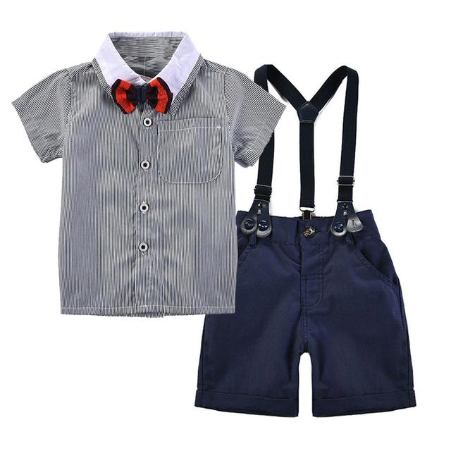 Menino Da Criança do bebê Pouco Gentlemen gravata listrada botão baixo camisa frente Shortalls set menino da criança festa de aniversário de casamento terno