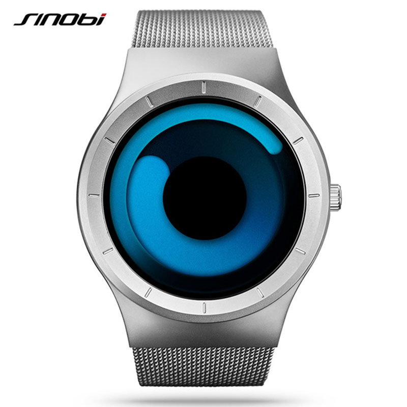 New Sport Watch Men Fashion SINOBI Top Brand Male Watches Stainless Steel Wristwatches Mesh Strap Clock