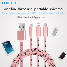 MEIDI  3in1 Charging USB Cable For iPhone/Samsung/Xiaomi/Meizu/Huawei Cable For Lightning Apple / USB Type C / Android Micro Usb
