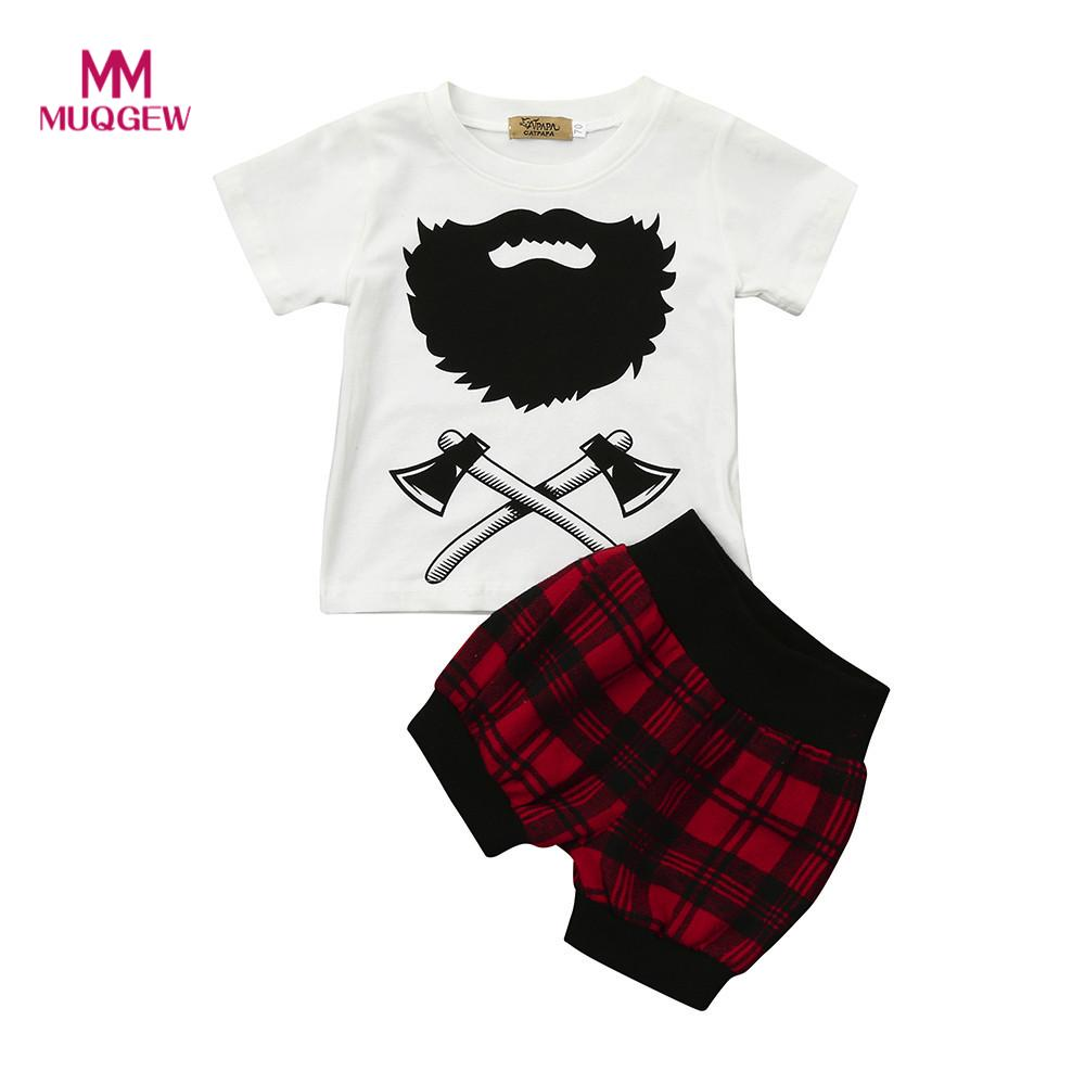 fashion summer baby clothes sets 2Pcs Infant Baby Boys Girls Plaid T-Shirt Tops+Shorts Clothes Set Outfits roupas nascidas