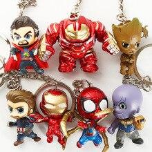 цена 4cm Marvel Avengers Iron Man Cute Version Spider Man Hulk Captain American Action Figure Toy Keychain Doll For Collection онлайн в 2017 году