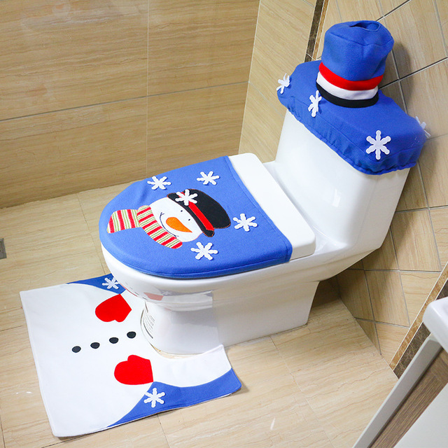 3 Pcs Set Creative Snowman Christmas Toilet Santa Seat Cover Rug Bathroom