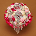 2017 New design hot sell HandMade Top quality beaded Brooch silk Flower bride Bridal wedding bouquet Artificial flower 8605