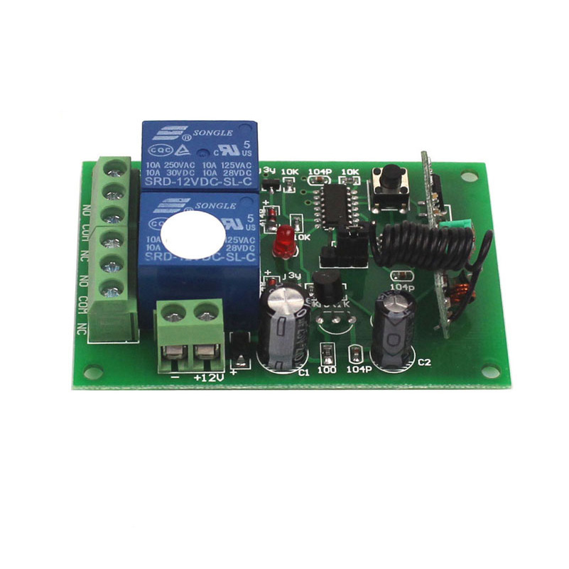 12V 2CH 433Mhz Remote Control Universal Switch Remote Control Switch 12V Transmitter Receiver Module 433315MHz-6