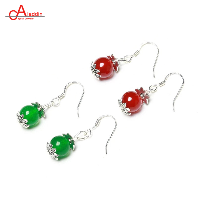 Aladdin Colours Crystal Agat Dangle Drop Earrings Pink/Aquamarin Quartz 8mm Beads Silver Ear Hook Women Alloy Fashion Jewelry