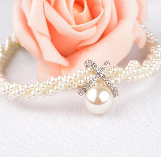 Statement Simulated Pearl Choker Necklace