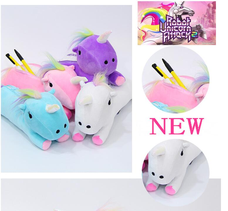 Cute 3D Unicorns Cosmetic Bags Cotton Makeup Case Women Storage Organizers Lovely Cartoon Animal Pencil Case For Child