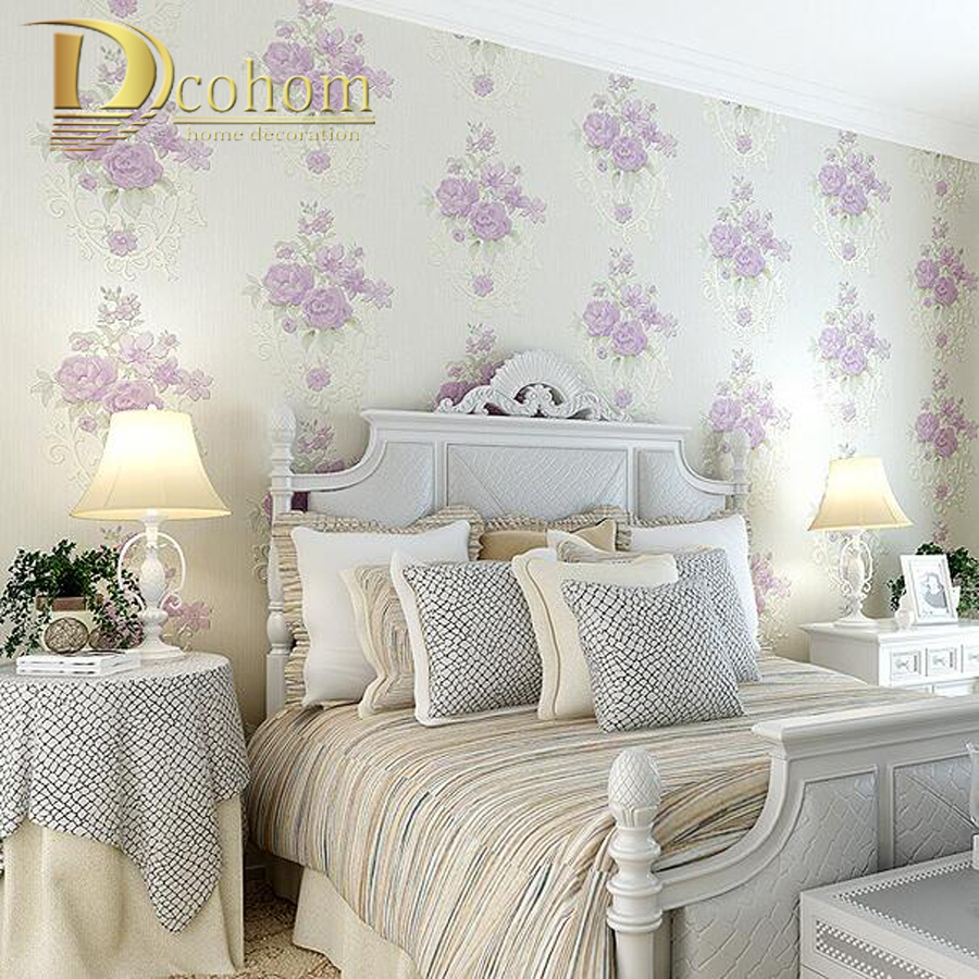 ФОТО European Pastoral Blue Pink Rose Wallpaper For Walls 3 D Embossed Flower Wall paper Rolls For Bedroom Living room Home Decor