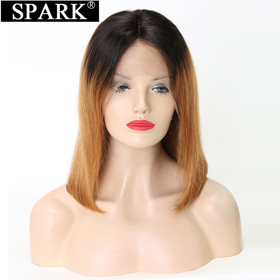Spark Dentelle Avant de cheveux humains Perruques pour Femme Ombre Couleur 1B/27 Brésiliens cheveux droits 13x4 Court Bob Remy cheveux humains Perruques