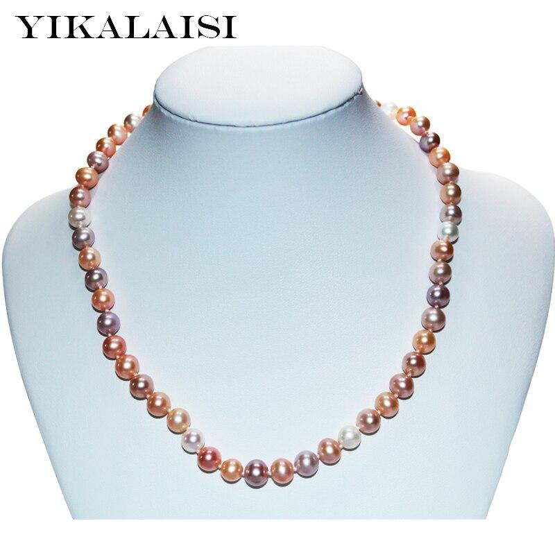 YIKALAISI 2017 fine 925 bijoux en argent sterling pour les femmes perle collier ras du cou bijoux naturel perle d'eau douce cadeaux de mariage