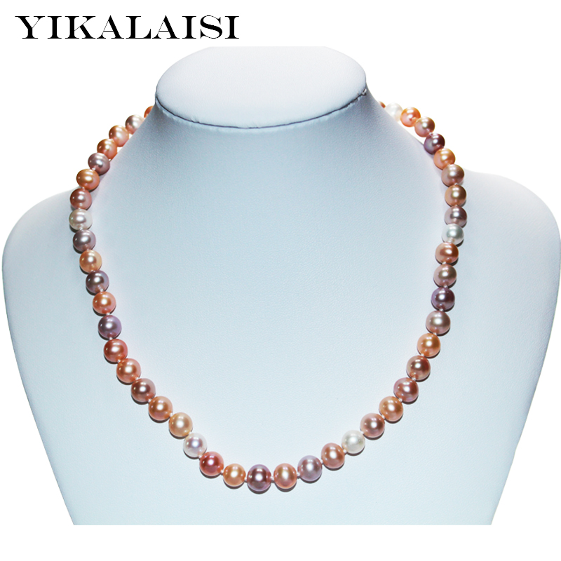 YIKALAISI 2017 fine 925 sterling Silver jewelry For Women Pearl choker Necklace jewelry Natural Freshwater pearl wedding gifts yikalaisi 2017 fine natural freshwater pearl necklace 925 sterling silver jewelry 8 9mm real pearl necklace gifts for women