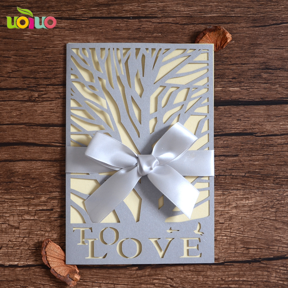 Price For Wedding Invitations: 50pcs/lot Hot Sale Flower Romantic Laser Cut Wedding