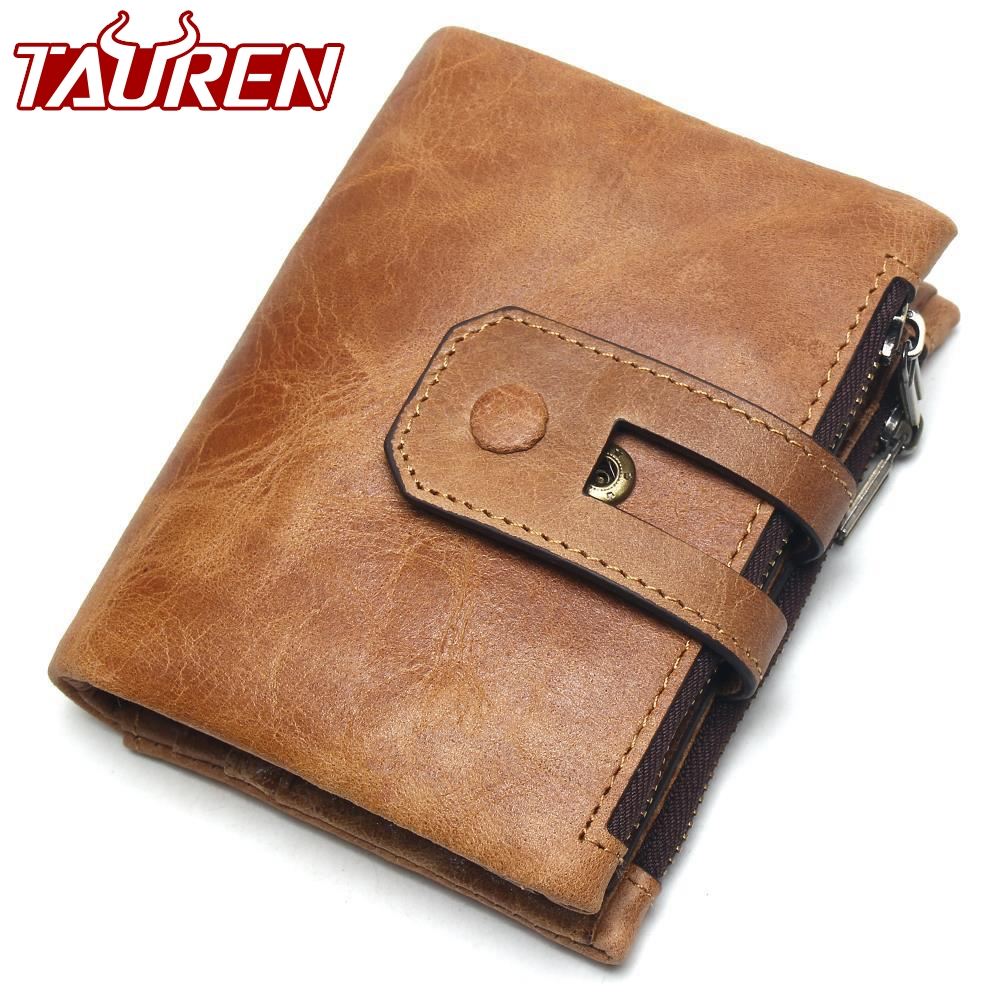 2018 New Genuine Crazy Horse Leather Mens Wallet Man Cowhide Cover Coin Purse Small Brand Male Credit&Id Multifunctional Walets