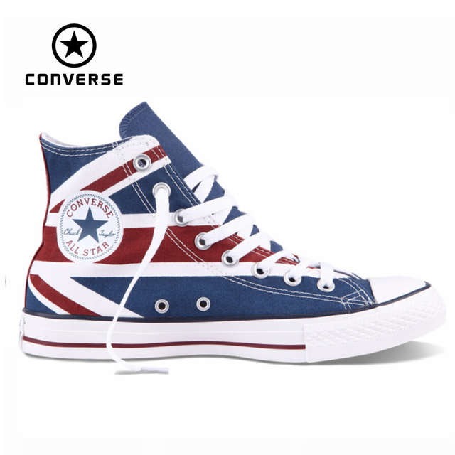 a93483acd375 Original Converse all star shoes national flag Color matching high men  women s sneakers canvas classic Skateboarding
