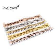 CARLYWET 20mm Gümüş Iki Ton Gül Altın kol saati Kayışı Bilezik Katı Vida Bağlantıları Kavisli Için Datejust Başkan
