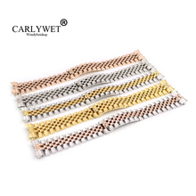 CARLYWET 20mm Silver Two Tone Rose Gold Wrist Watch Strap Bracelet Solid Screw Links Curved End For Datejust President