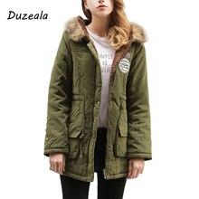 Duzeala парки Для женщин пальто мода осень теплые зимние куртки Для женщин меховой воротник Длинная парка плюс Размеры толстовки хлопковая верхняя одежда