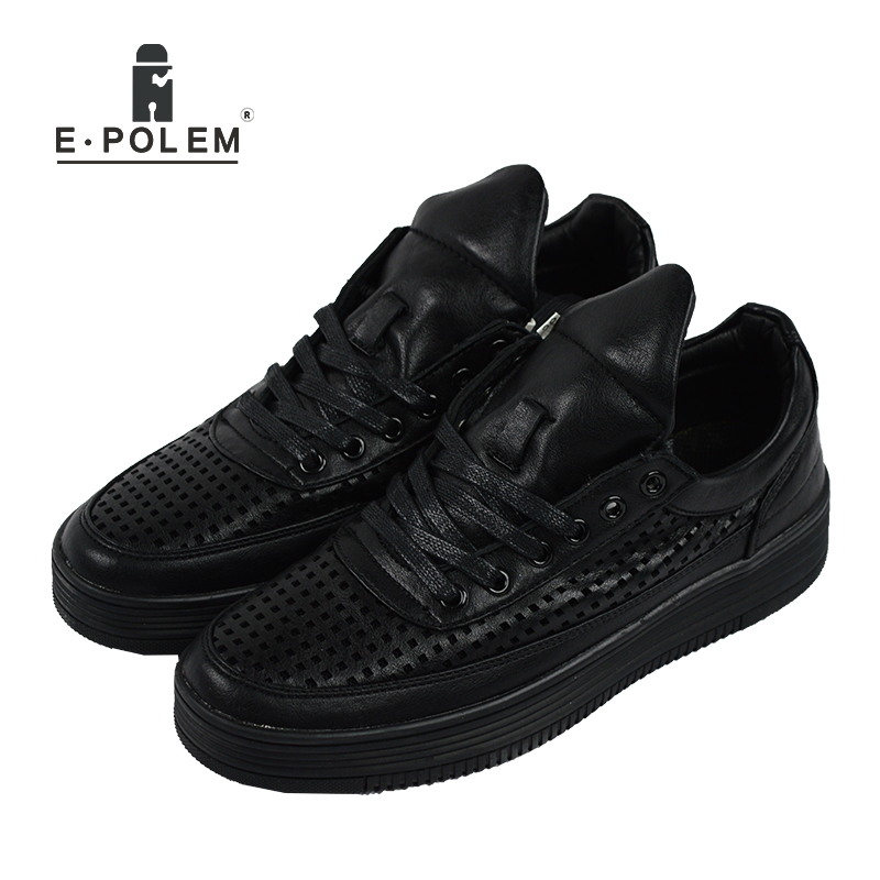 2017 Summer Brand Casual Men Shoes Mens Flats Fashion Leather Shoes Man Breathable Holes Leisure Sneakers Shoes Spring Fall стоимость
