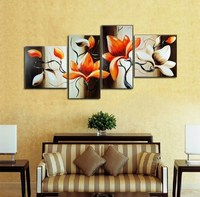 Pintura al óleo pintada a mano: 100% hecho a mano abstracta moderna de la lona wall art living room picture flores rojas cuatro partes sp