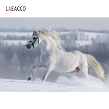 Laeacco Winter Snow Running White Horse Scenic Photography Backgrounds Customized Photographic Backdrops For Photo Studio 10x20ft snow winter scenic photographic theme background hand painted muslin photography christmas backdrops k2020