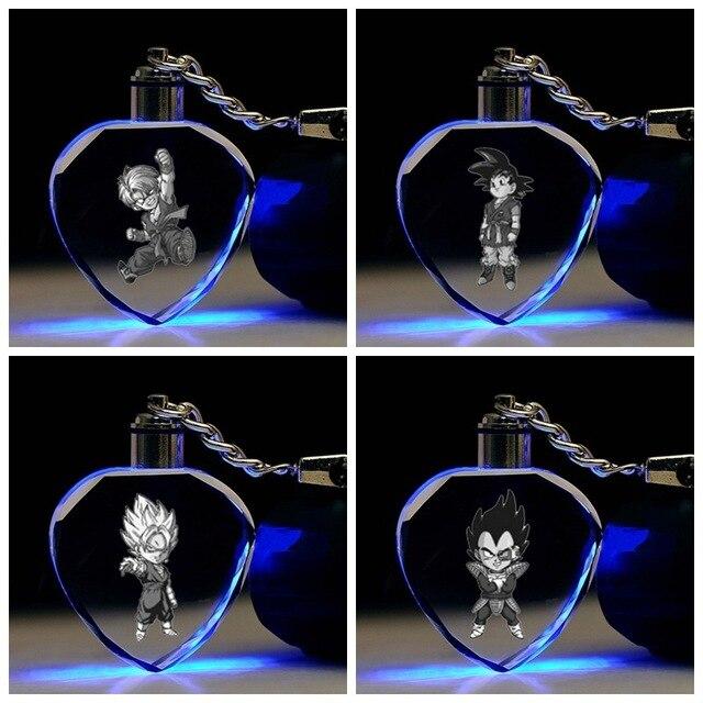 Coração da corrente chave dos desenhos animados Dragon Ball Vegeta Piccolo Goku Kame Sennin Buu CONDUZIU a Luz pingente de cristal chaveiros crianças brinquedo llavero