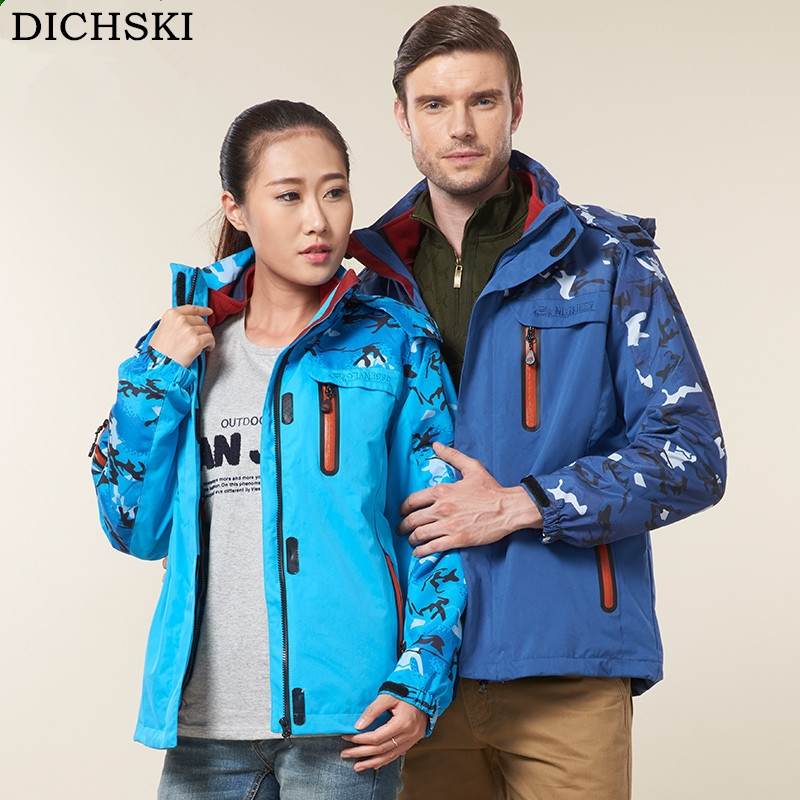 DICHSKI New Couples Winter Hiking Jackets Outdoor Men Women Triple Play Waterproof Jacket Windproof Unisex Warm Camp Hooded Coat men and women winter ski snowboarding climbing hiking trekking windproof waterproof warm hooded jacket coat outwear s m l xl