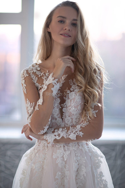 Romantic Pink Tulle Long Sleeves Wedding Dresses 2021 Beading Lace Appliques Scoop Backless Bridal Wedding Gowns Robe De Mariée 3