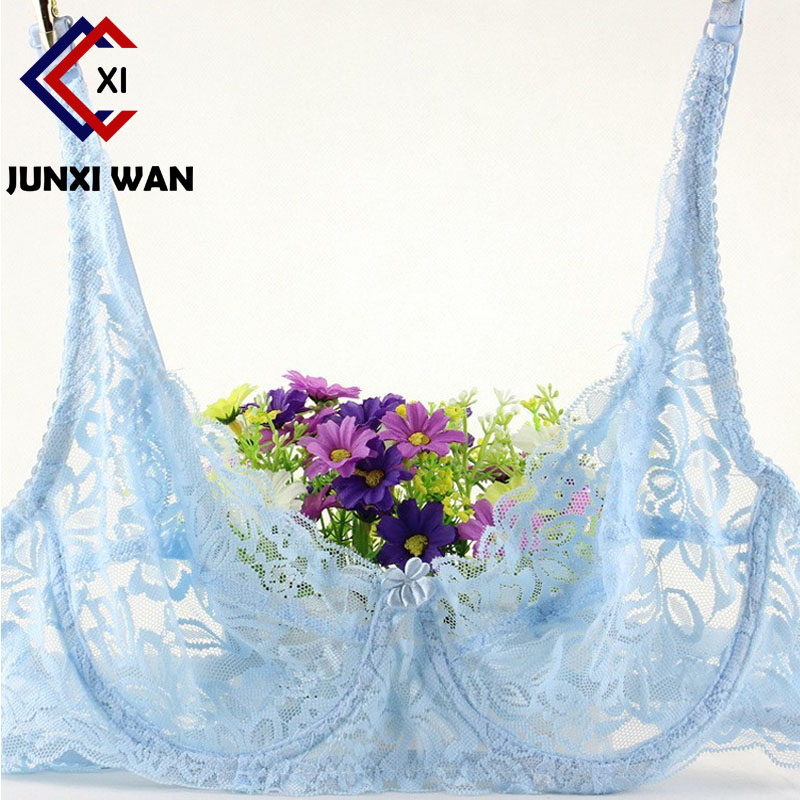 Full Lace Seethrough Bra Women Thin Underwire Bralette Push Up Bra Underwear Sexy Lingerie Plus Size Embroidery Brassiere