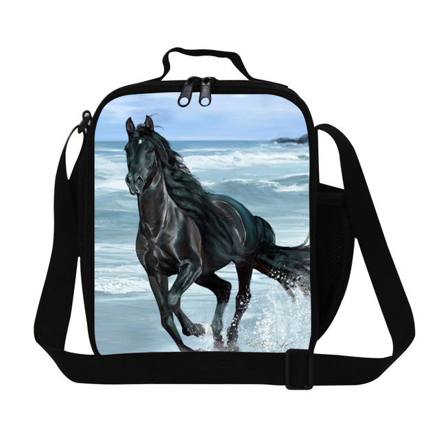 Dispalang Black Horse Lunch Bags For Kids Boys Insulated Cooler Bag Patterns Small Animal Printed