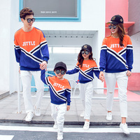 Couples Family Matching Outfit Fall 2019 New Korean Edition Leisure Sports Plus Velvet Sweatshirt Mother and Daughter Son Hoodie