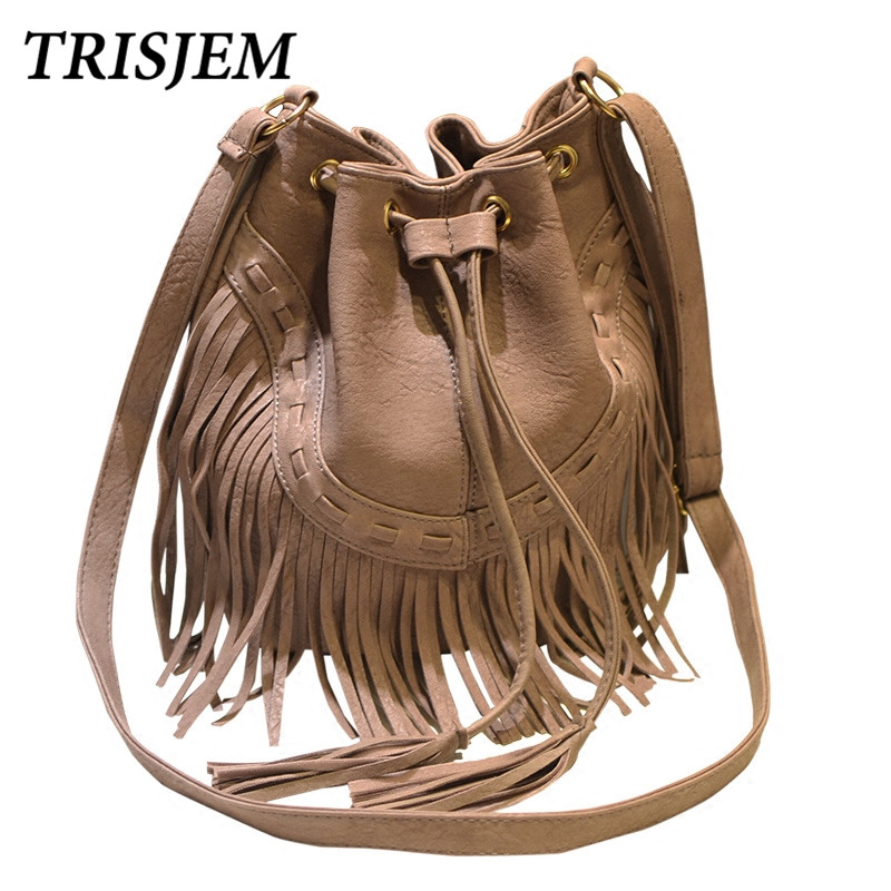 Vintage Tassel Bucket Bag Women 2018 Fashion PU Leather Shoulder Bags Black Brown Pink Gray Female Drawstring Crossbody Bag cerwin vega cxa 8